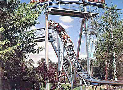 Big Bend roller coaster first drop