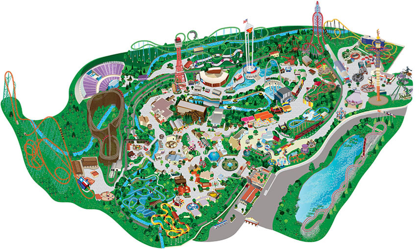 Park Map Guide To Six Flags Over Texas